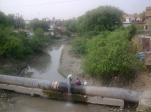 A leaking wastewater pipeline