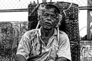 black and white working old human